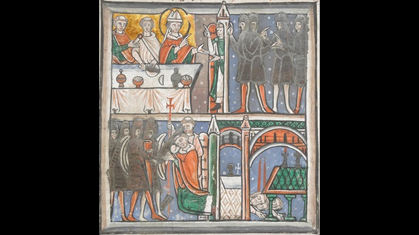 An illustration of the events of the martyrdom of Thomas Becket, from a 12th-century collection of his letters.