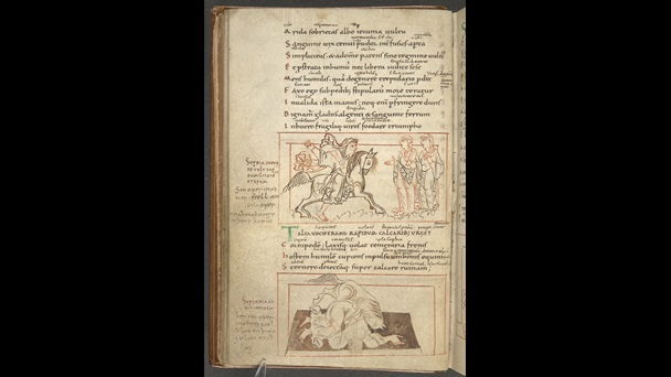 A page from an Anglo-Saxon manuscript of Prudentius' Psychomachia, featuring illustrations of Superbia trying to trample Spes and Humilitas and Superbia falling.
