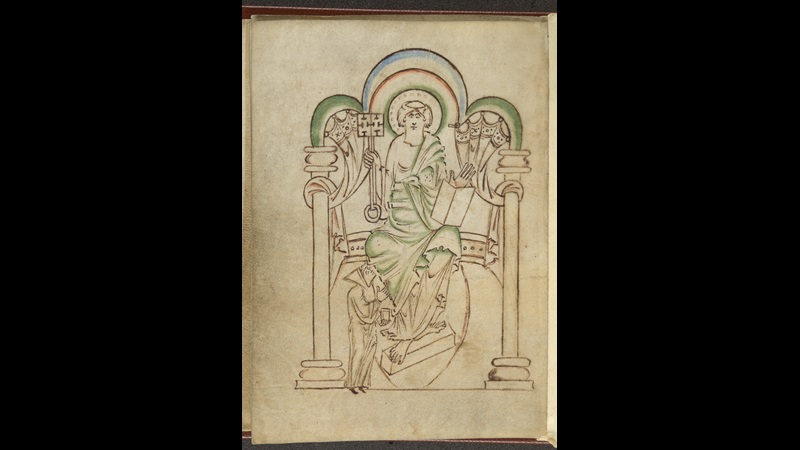 A page from Ælfwine's Prayerbook, featuring a portrait of St Peter seated on a throne.