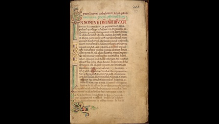 A page from a 12th-century collection of charters relating to St Augustine's Abbey, showing a decorated initial with an illustration of an Anglo-Saxon king.