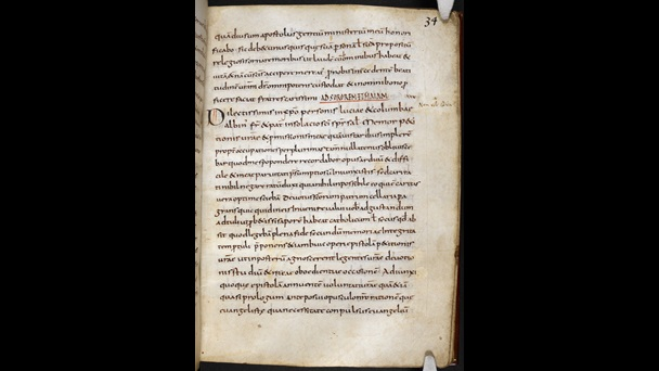 A text page from a 9th-century collection of the letters of Alcuin of York.