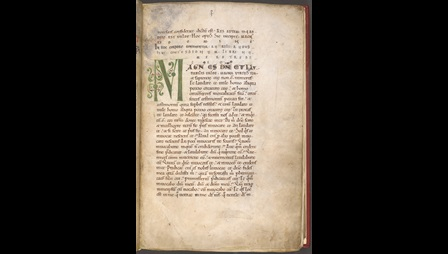 The opening page of an 11th-century copy of St Augustine's Confessiones, featuring a large initial in green ink.