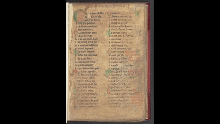 The opening page of a Psalter written in Anglo-Norman verse.