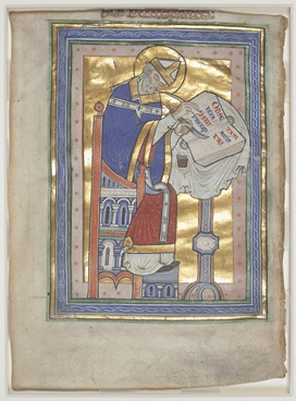 An author portrait of St Dunstan writing at a desk, holding a quill pen and a knife, with a background made of gold leaf.