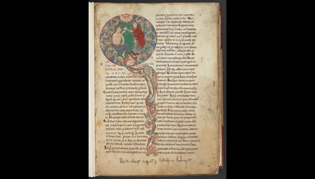 A page from a manuscript of St Gregory the Great's Moralia in Job, featuring a large decorated initial with a portrait of the Old Testament figure on a dunghill.
