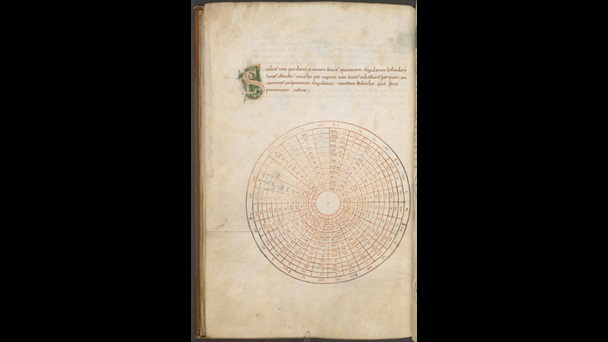 A page from a miscellany of works on computus and astronomy, featuring a diagram used to calculate lunar cycles.