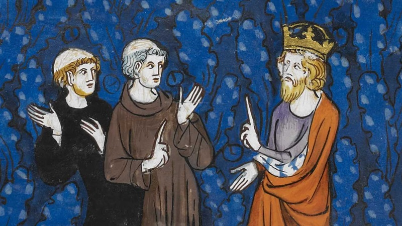 An illustration of Alcuin of York and the Emperor Charlemagne.