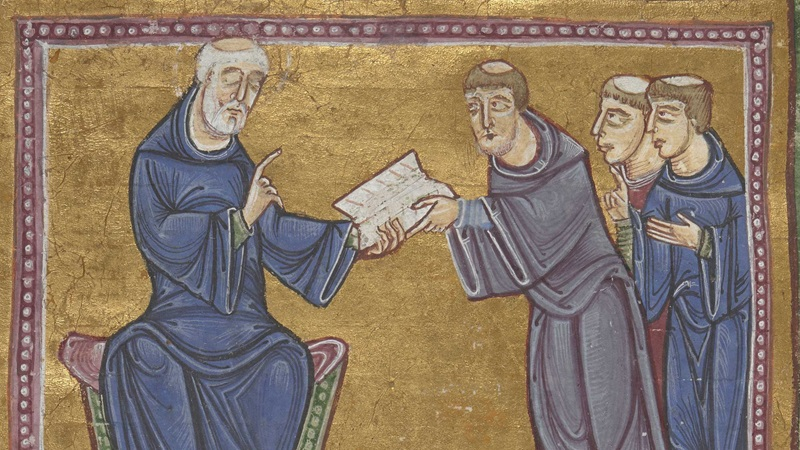 An illustration of St Benedict passing his Rule to St Maurus and two monks.