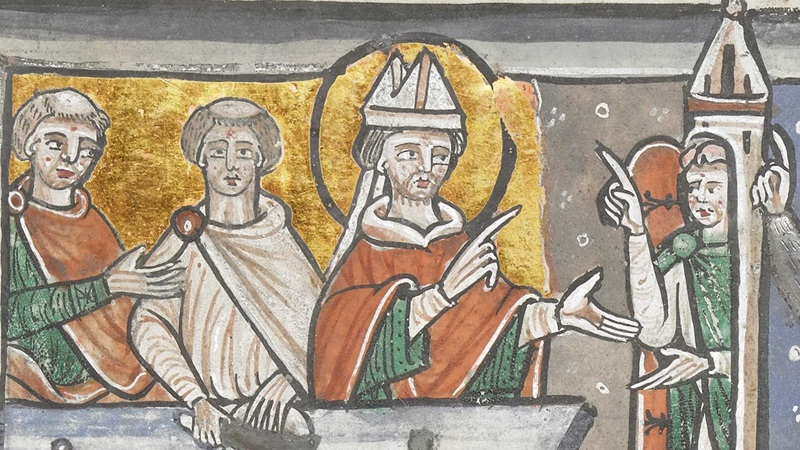 An illustration of the events preceding the martyrdom of Thomas Becket, Archbishop of Canterbury.