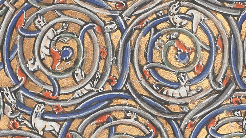 A detail of a decorated initial from an illuminated medieval manuscript.