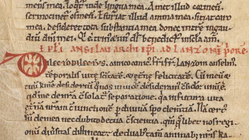 A detail from a manuscript of Anselm of Canterbury's theological treatises.