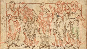 An illustration from an Anglo-Saxon manuscript of Prudentius' Psychomachia.
