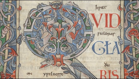 A detail of an elaborate decorated initial and frame from a late 11th-century illuminated Psalter.