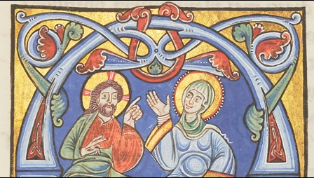 An illustration of Christ and the personified Holy Church, represented as the Bride and the Bridegroom, from the Chartres Bible.