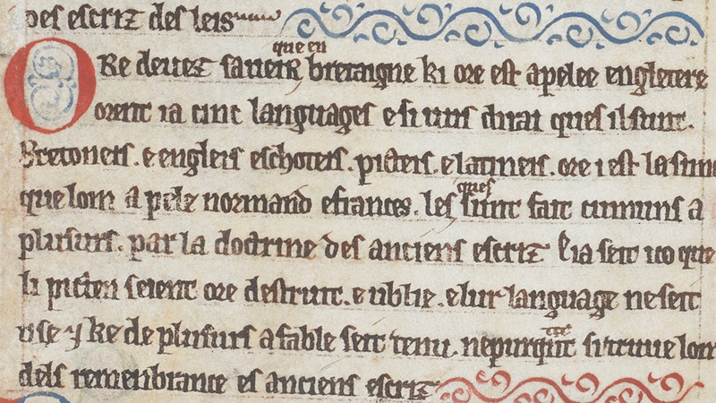 An Anglo-Norman text describing the languages spoken in England, from a 12th-century collection of legal treatises.