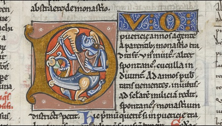 A decorated initial containing a hybrid creature, from a medieval collection of legal texts.