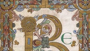 A decorated initial and frame from the Beatus page of the Eadui Psalter.