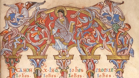 A detail of a decorated canon table from The Préaux Gospels.