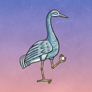 An illustration of a crane holding a rock, based on an account in a medieval bestiary.
