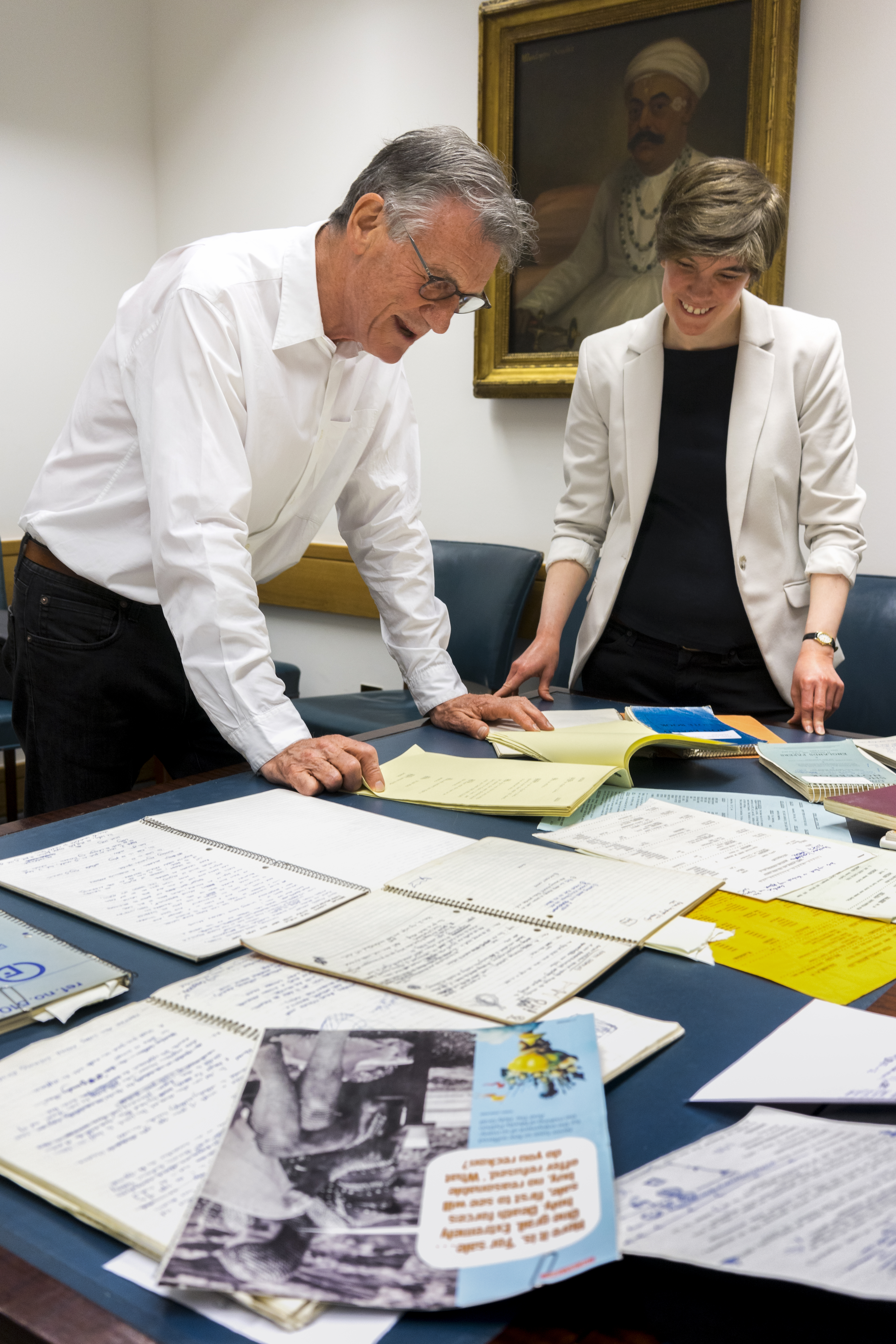 Michael Palin donates personal archive of his literary and creative career to the British Library. With curator Rachel Foss. Photo: Tony Antoniou