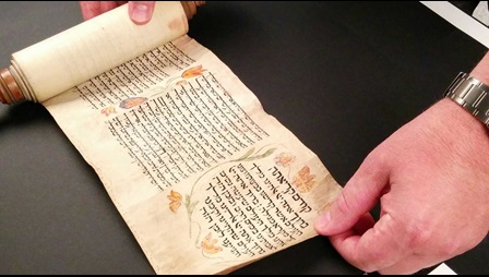 16th-century CE Scroll of Esther digitised at the British Library's Imaging Studio (Photo:  Adi Keinan-Schoonbaert)