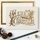"A Christmas card saying ""Merry Christmas"""