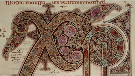 A colourful and elaborate Chi-Ro in the Lindisfarne Gospels