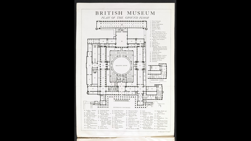 Plan of the British Museum in the 1930s, published London, William Clowes & Sons, Ltd., lithograph, republished in Summary Guide to the Exhibition Galleries of the British Museum, fourteenth edition, (London: printed by order of the Trustees of the British Museum, 1930), 07959.ee.24.