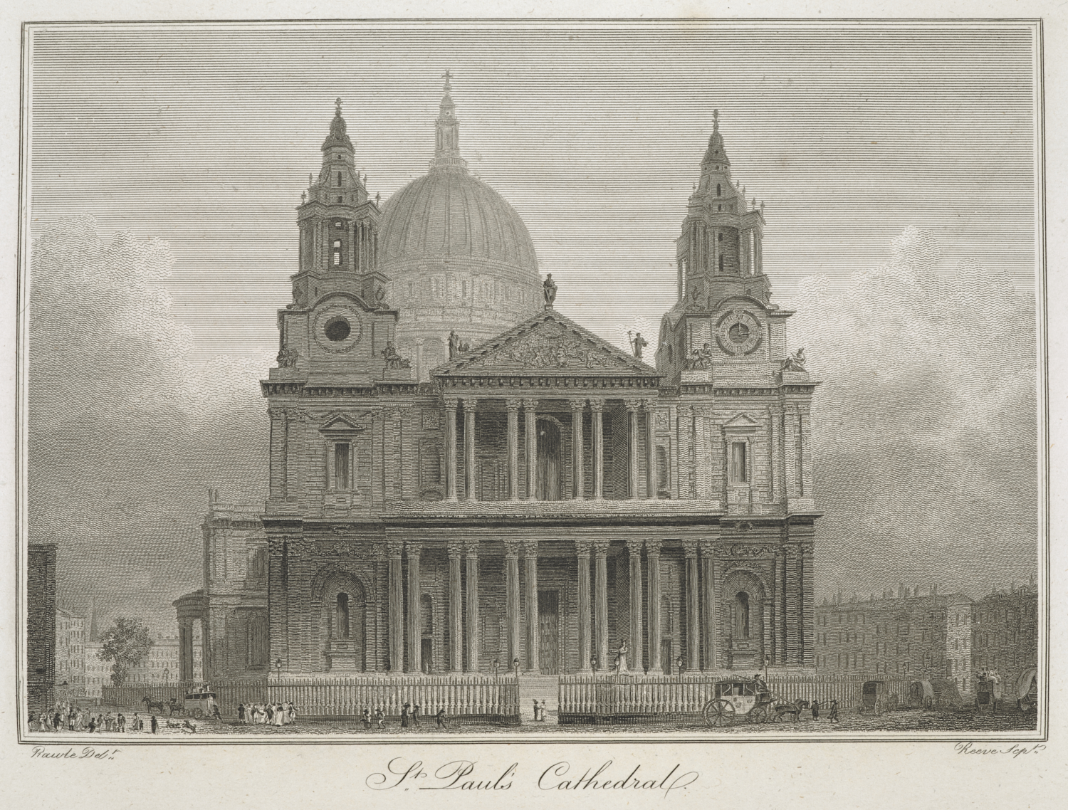 Richard Rhodes, after Edward Pugh, St Paul's Cathedral, from Modern London (London, Richard Phillips, 1804), etching, 10349.h.13