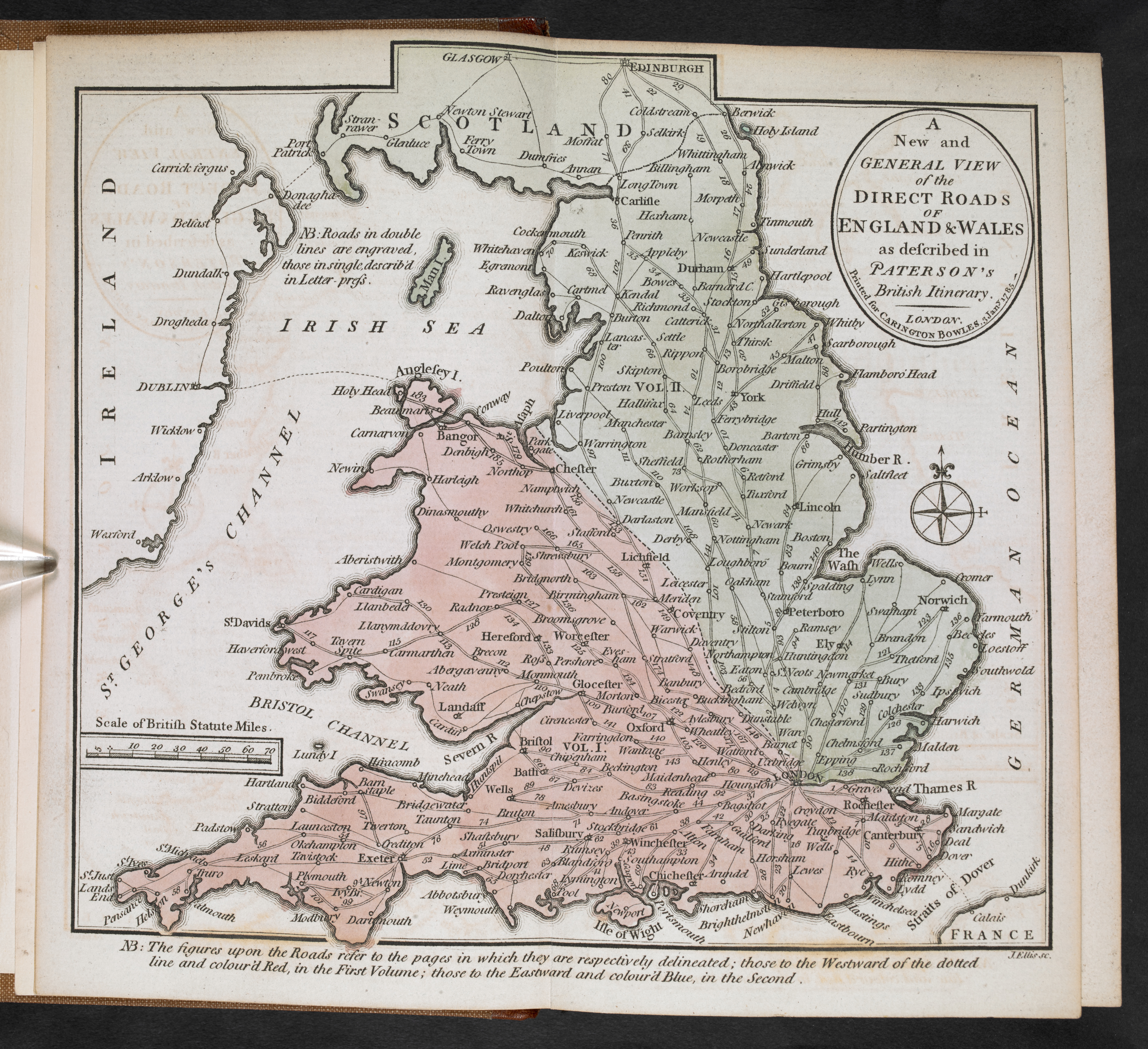 A map of the roads through England, Wales and part of Scotland from Daniel Paterson's British Itinerary (1785)