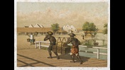 A chromolithograph showing two laborers in Batavia, Dutch East Indies.