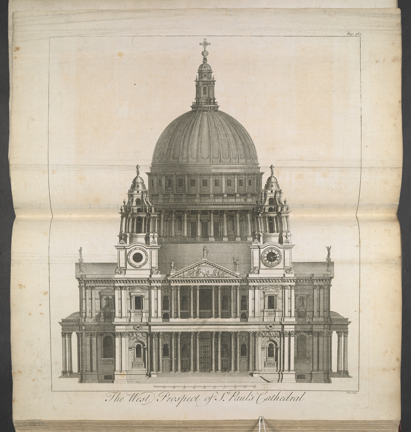 William Henry Toms, The West Prospect of St. Paul's Cathedral, from Maitland's History of London, (London: Samuel Richardson, 1739), etching and engraving, 46 x 38 cm, 1855.b.6. (plate between pp.482-83)