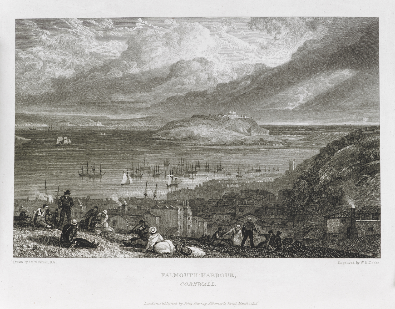 William Bernard Cooke (1778-1855) after Joseph Mallord William Turner (1775-1851), Falmouth Harbour, Cornwall, published as plate 65 in Picturesque Views of the Southern Coast of England,  London, , 1816, etching and engraving, 22.5 x 30 cm,  189.e.2-3.