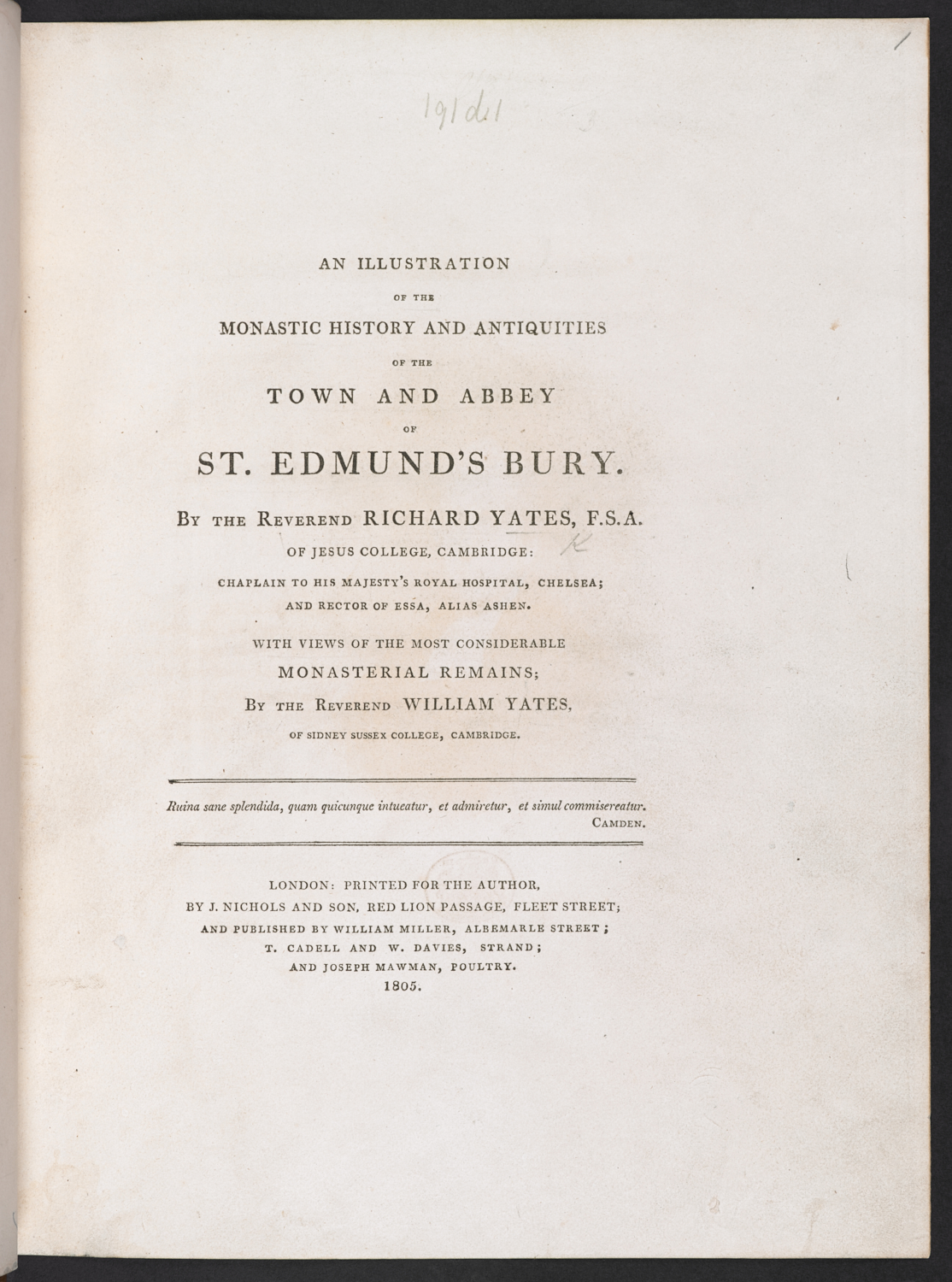 Title Page of An Illustration of the Monastic History ... of ... St. Edmund's Bury by Richard Yates