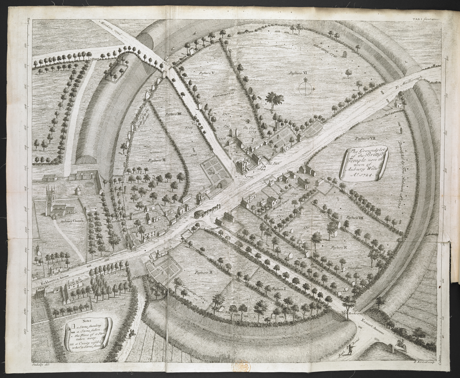 Elisha Kirkall (about 1682-1742) after William Stukeley (1687-1765), The Groundplot of the British Temple now the Town of Aubury Wilts, AD 1724, printed for the author, London, 1743