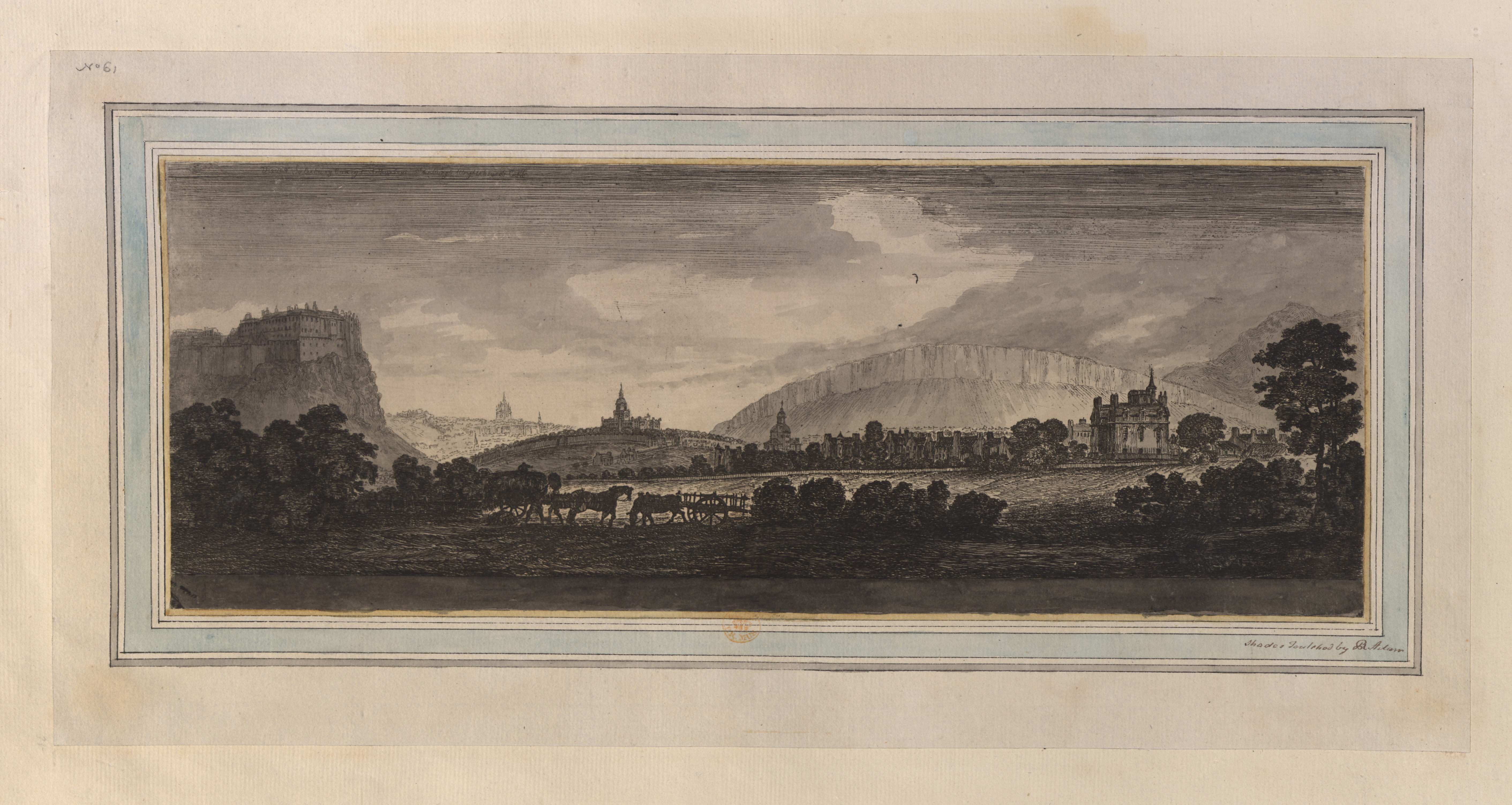 Inscribed 'No61 ' in the upper left-hand corner of the mount. Horses and carts near trees in the foreground; fields in the middle ground; Edinburgh behind; Salisbury Crags and Arthur's Seat in the distance. Etched with title in the upper left-hand corner. Hand coloured by Robert Adam. Inscribed 'Shades touched by R. Adam' in black ink in the lower right-hand corner of the mount.