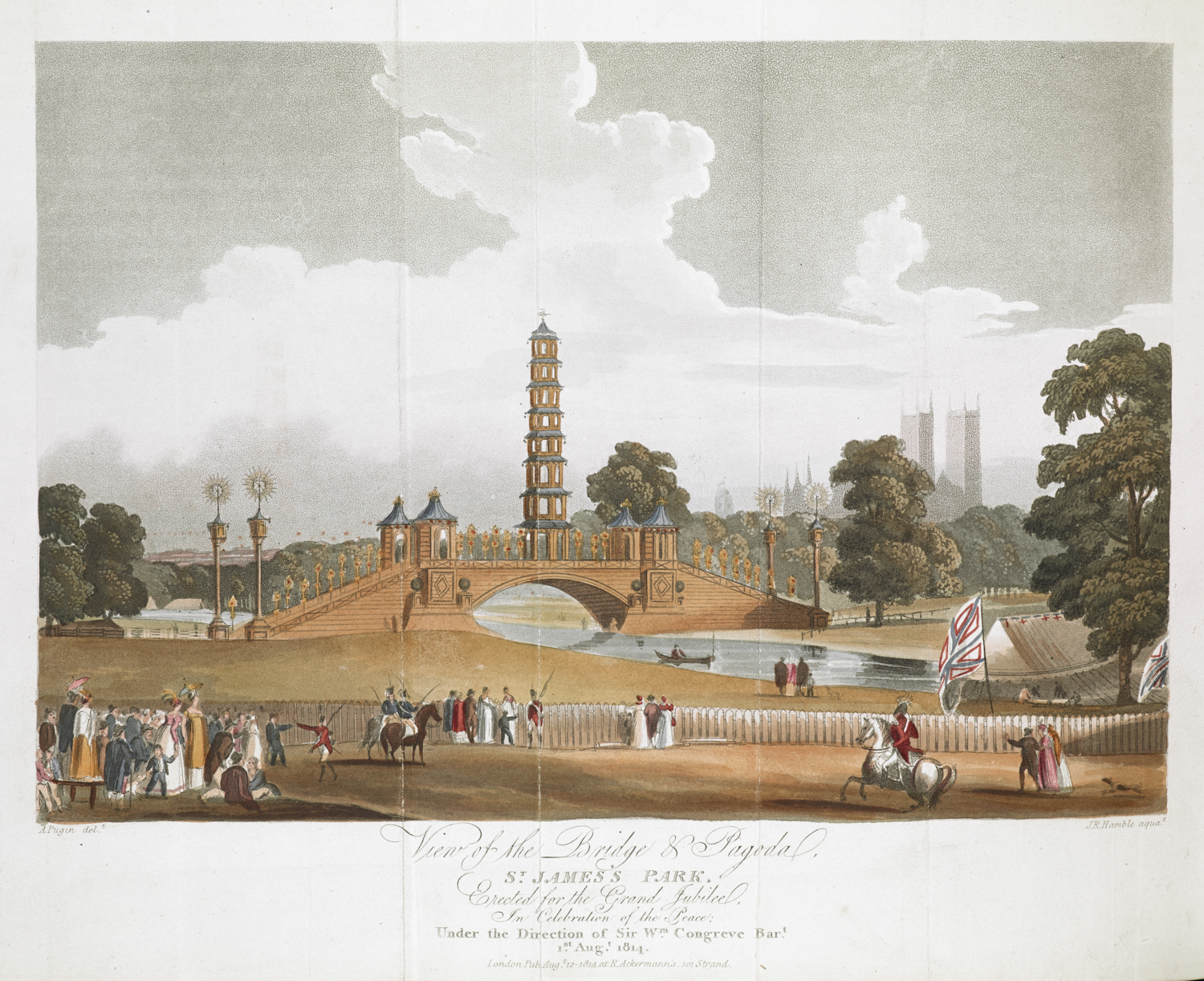 J.R. Hamble, after Augustus Charles Pugin, View of the Bridge & Pagoda, ST. JAMES'S PARK, from Select Views of London, (London: Rudolph Ackermann, 1816), hand-coloured aquatint, platemark 24.7 x 30.0 cm 192.b.19