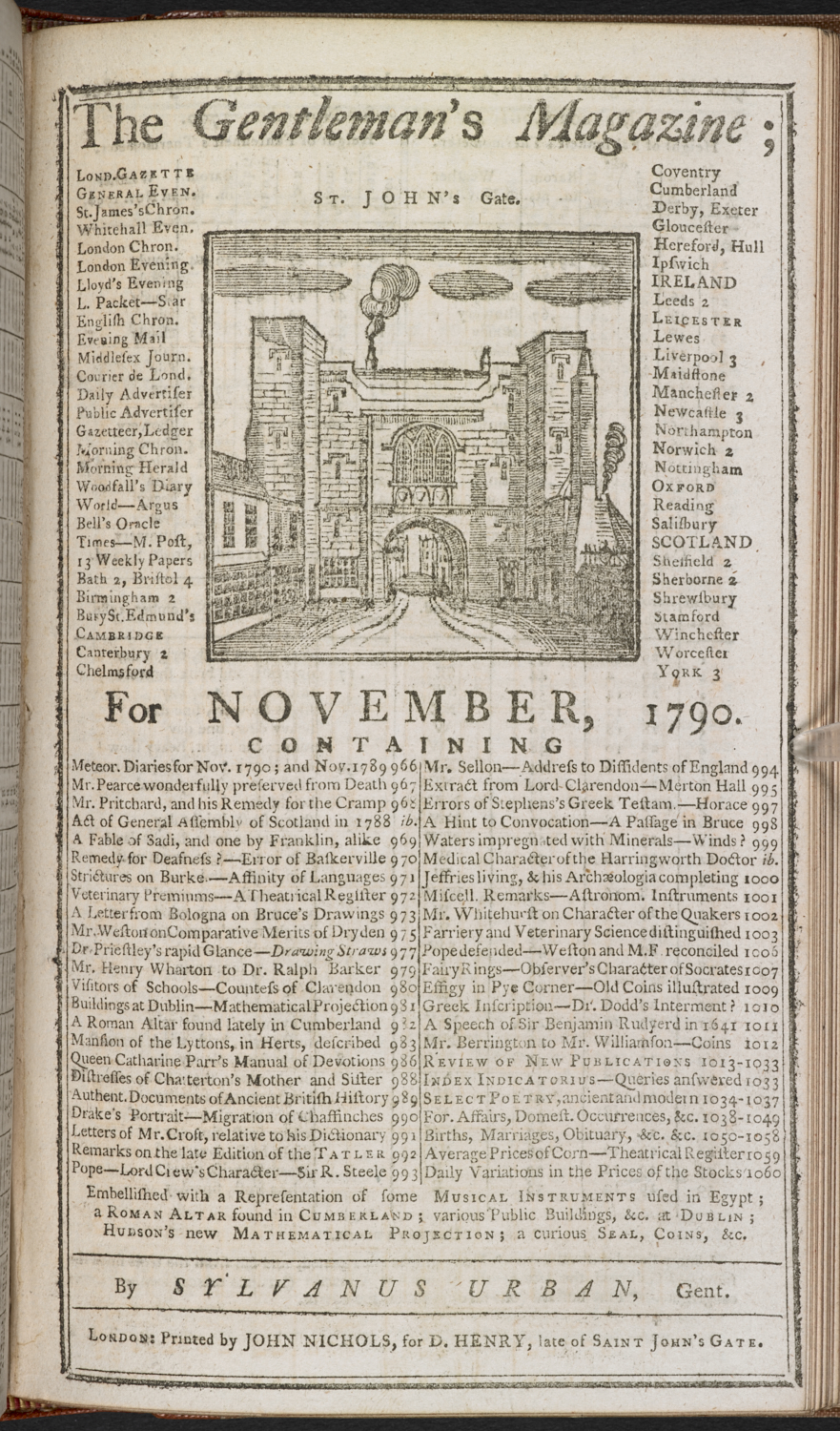 The front page of the Gentleman's Magazine for November, 1790