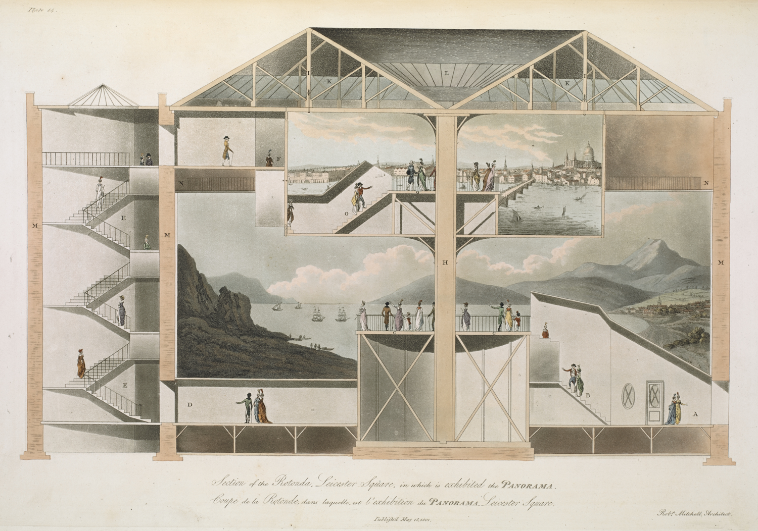 Robert Mitchell (active around 1782-1809), Section of the Rotunda, Leicester Square, in which is exhibited the Panorama, London, 15 May 1801, etching and aquatint, 31.8 x 45.5 cm, published as plate 14 in Plans, and views in perspective, with descriptions of buildings erected in England and Scotland; and ... an essay to elucidate the Grecian, Roman and Gothic Architecture, London: The Oriental Press, Wilson & Co, 1801, 56.i.12. (plate 14)