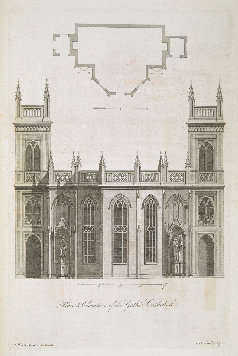 Plan & Elevation of the Gothic Cathedral at Kew