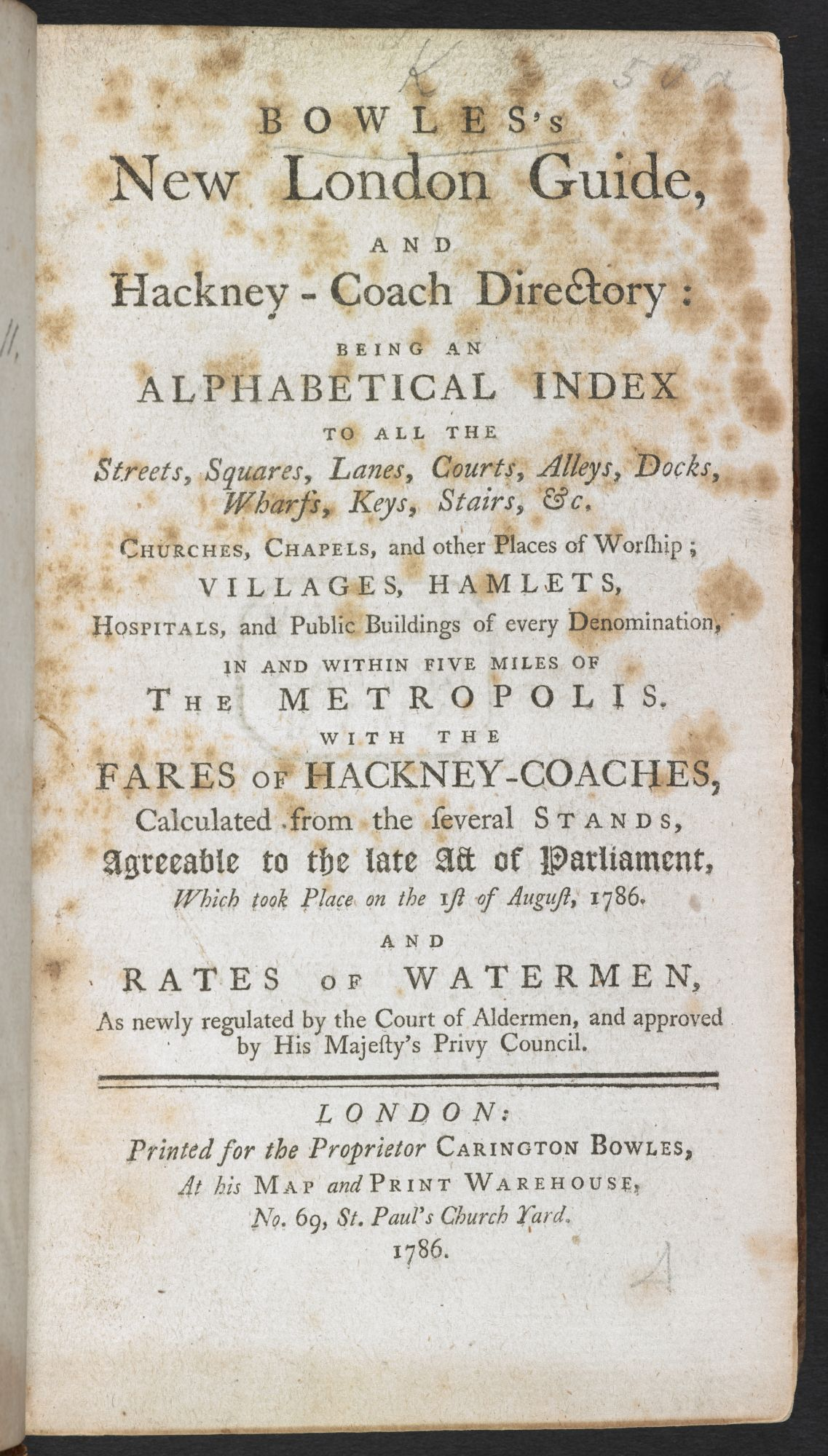Title page of Bowles' New London Guide.