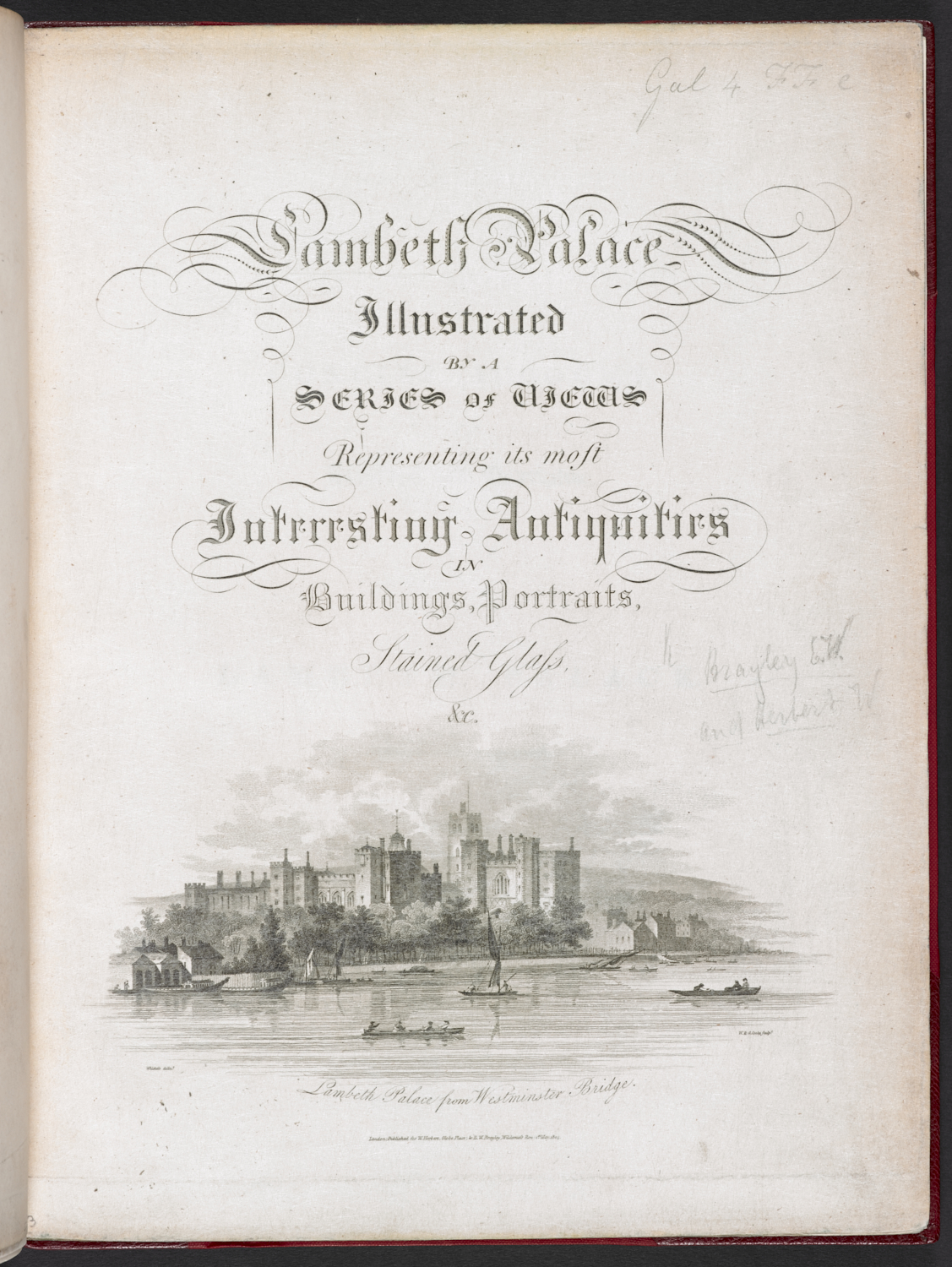 W. & G. Cooke, Title page to William Herbert and Edward Wedlake Brayley, 'Lambeth Palace Illustrated…' (London: W. Herbert & E. W. Brayley, 1806), etching and engraving = British Library 578.i.36