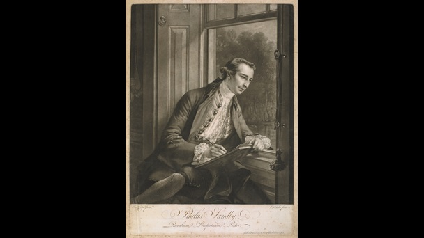 Mezzotint portrait of Paul Sandby by Edward Fisher