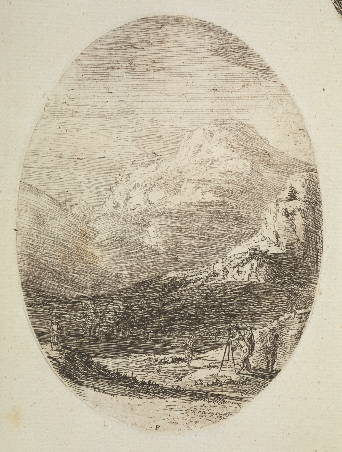 This print depicting a survey party in the Highlands and dated 1750 was published in 1765 by Ryland and Bryer as part of a collection of 100 etchings by Sandby