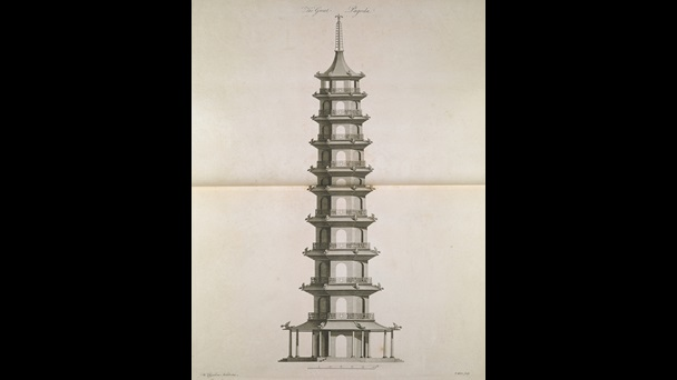 An elevation of the Pagoda at Kew, in William Chambers' Plans, Elevations, Sections, and Perspective Views of the Gardens and Buildings at Kew in Surry
