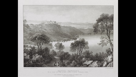 Lithograph of Castel Gandolfo by William Gauci