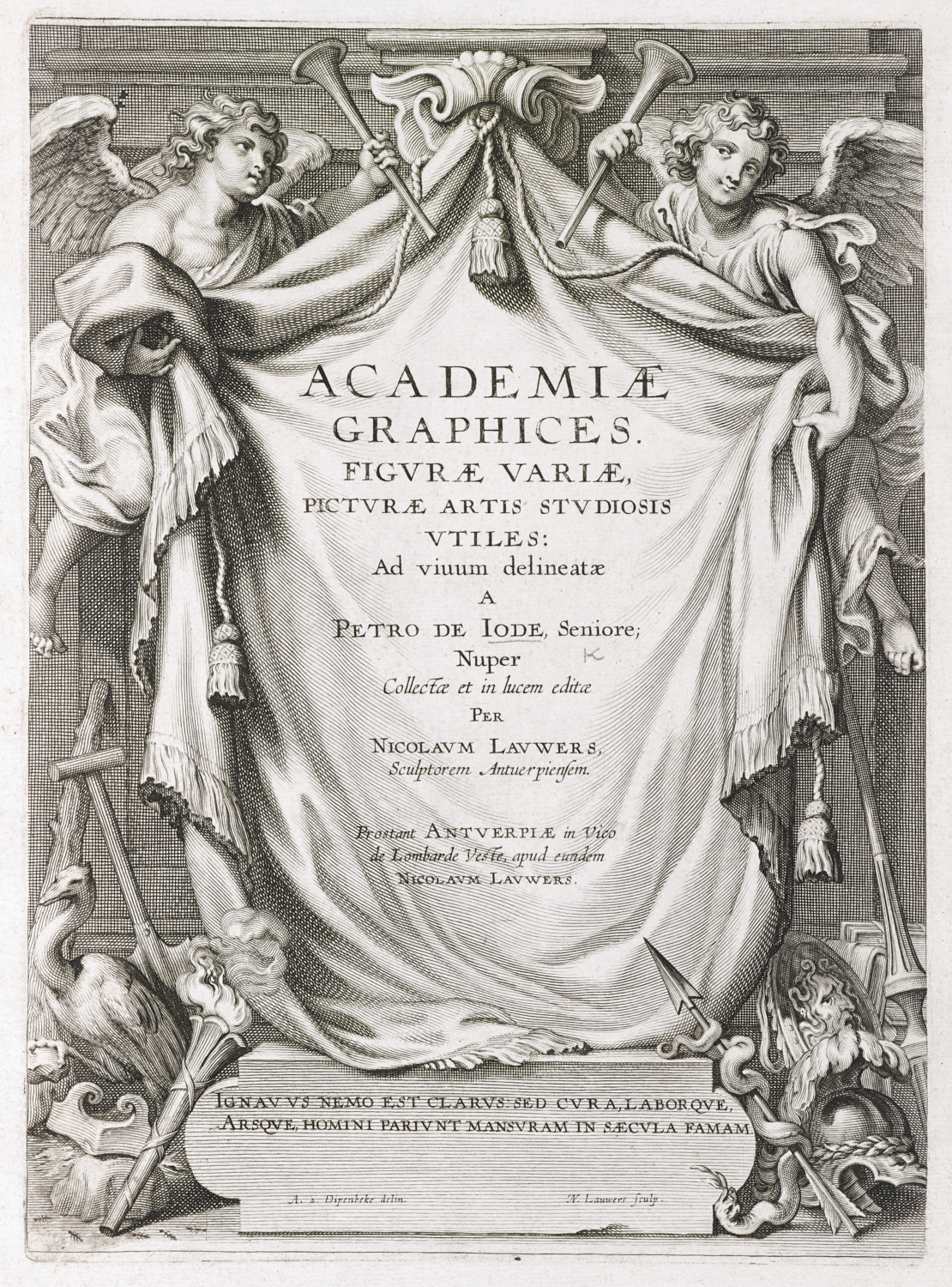 Nicolaes Lauwers, Cornelis Galle I, Pieter de Jode I [or II] and an anonymous hand after Pieter de Jode I, Academiae Graphices, published by Nicolaes Lauwers, Antwerp, c. 1630, 18 etchings and engravings, c. 400 x 250 mm, British Library, London, General Reference Collection 798.l.21.   Academiae Graphices, Figurae Variae, Pictureae Artis Studiosis Vtiles: Ad Viuum Delineatae a Petro de Iode, Seniore; Nuper Collectae et in Lucem Editae per Nicolaum Lauwers, Sculptorem Antuerpiensem (Antwerp: Nicolaes Lauwers, 1629), 798.l.21. Nicolaes Lauwers (1600-52) after Abraham Diepenbeke (1596-1675), Title Page to Academiae Graphices, published by Nicolaes Lauwers, Antwerp, 1629, engraving, plate 37 x 26 cm, on sheet 51 x 34 cm, 798.l.21.