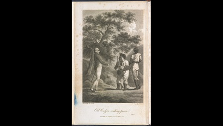 This engraving depicts the meeting of Colonel John Guthrie, a Jamaican plantation owner, and Cudjoe, leader of the Jamaican Maroons