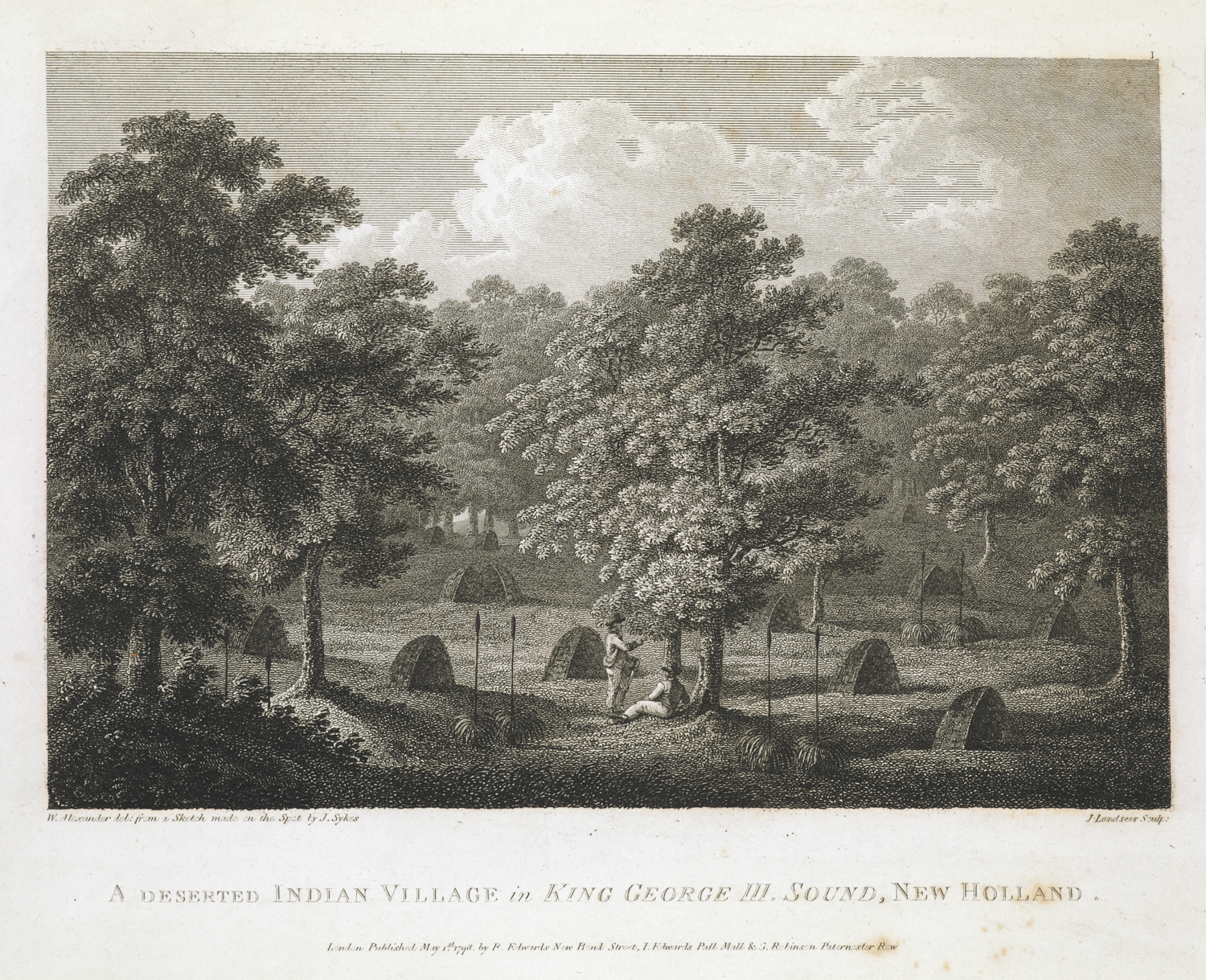 John Landseer (1769–1852) after William Alexander (1767–1816) and John Sykes (1781/2–1837), A Deserted Indian Village in King George III Sound, New Holland, published 1 May 1798 by Richard Edwards, New Bond Street, John Edwards, Pall Mall, and George Robinson, Pater Noster Row, London, etching and engraving, republished in George Vancouver (1757-98), A Voyage of Discovery to the North Pacific Ocean (London: G.G. Robinson & J Edwards, 1798), 688.l.1.