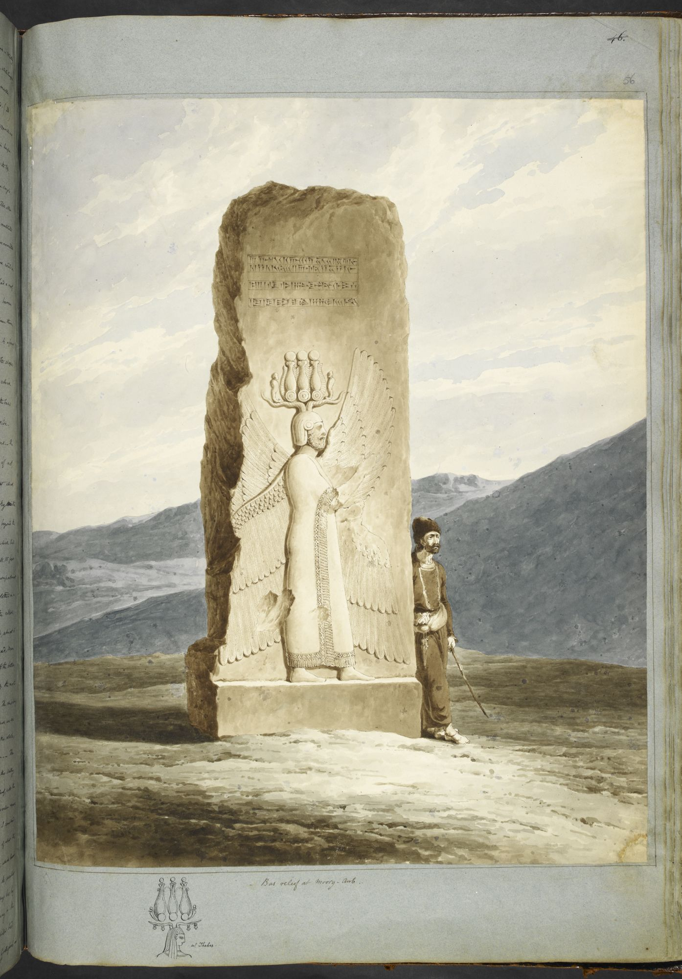 Bas-relief of Cyrus the Great on a pillar at Pasargadae, by Sir Robert Ker Porter.